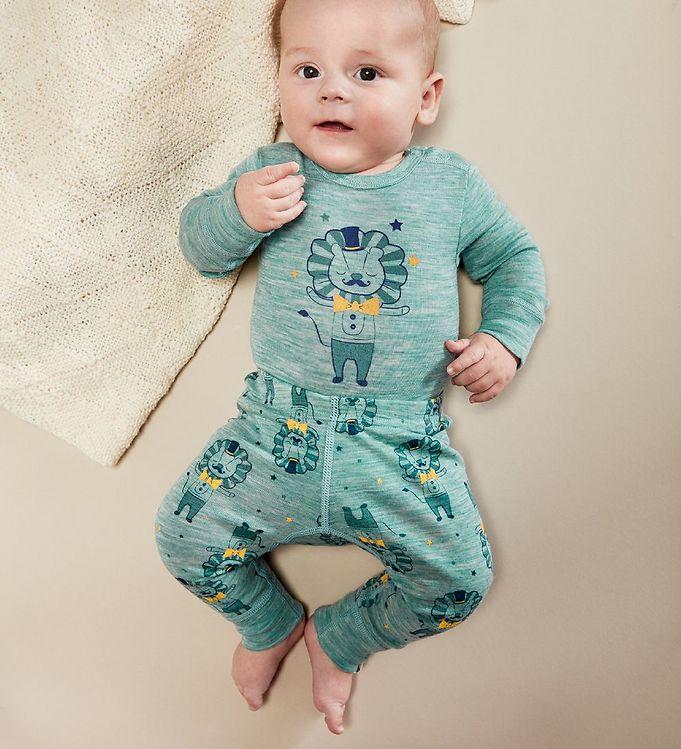 Pantaloni colanți din lână merinos lulworth blue CeLaVi 3