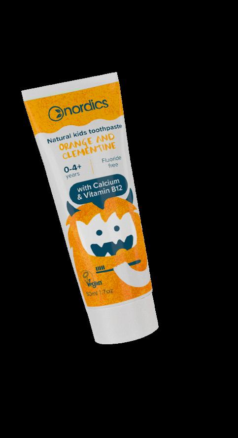 Pastă de dinți naturală pentru copii cu portocale și clementine 50ml Nordics 2