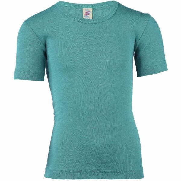 Tricou ice blue din lână merinos şi mătase organică pentru copii Engel