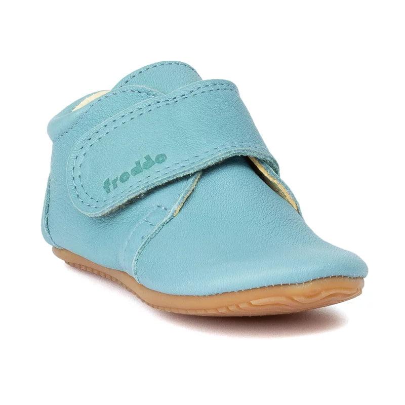 Pantofi barefoot din piele pentru primii pași light blue Froddo 1