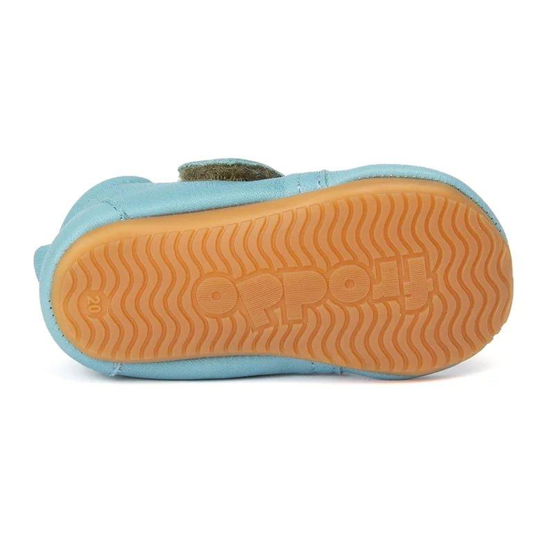 Pantofi barefoot din piele pentru primii pași light blue Froddo 3