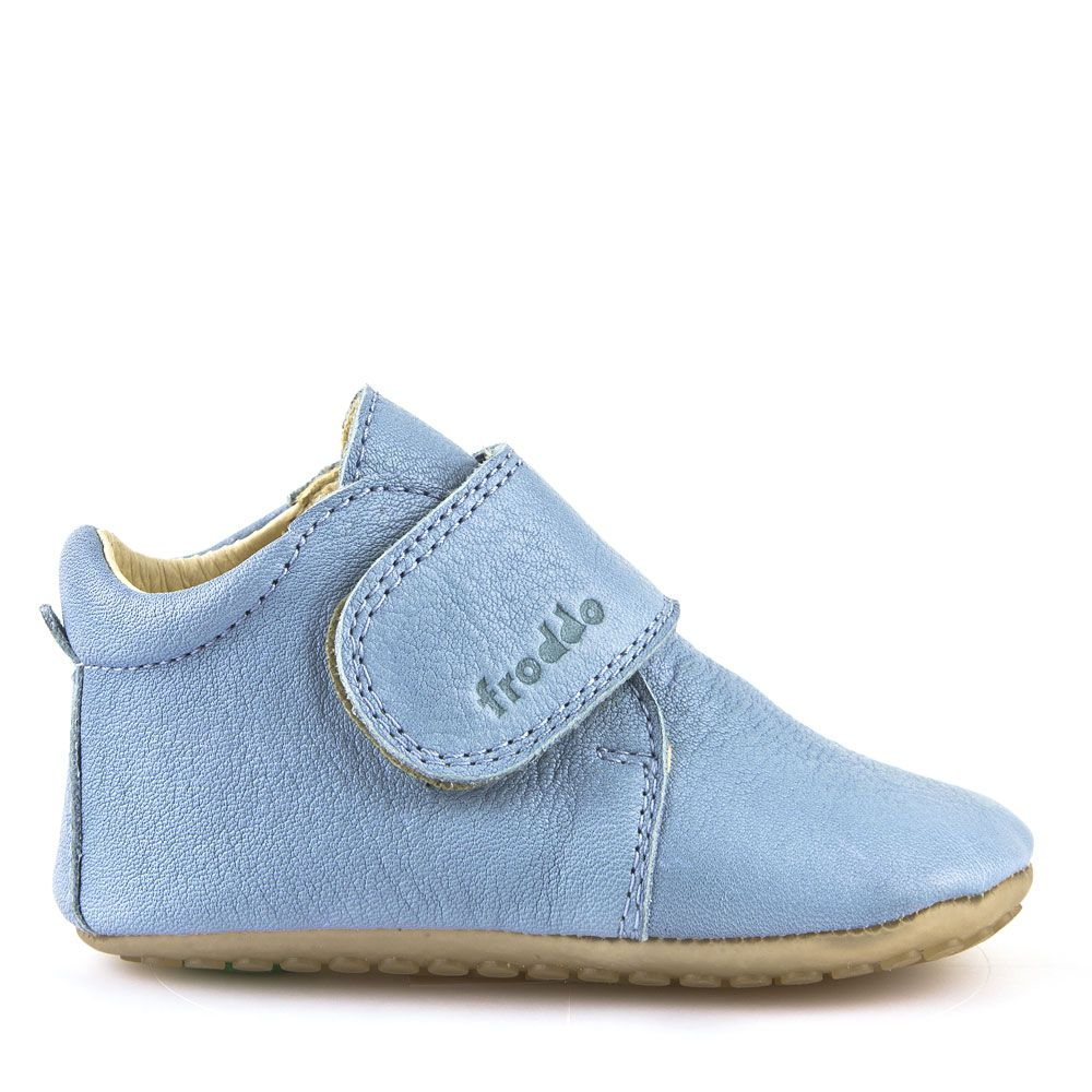 Pantofi barefoot din piele pentru primii pași light blue Froddo