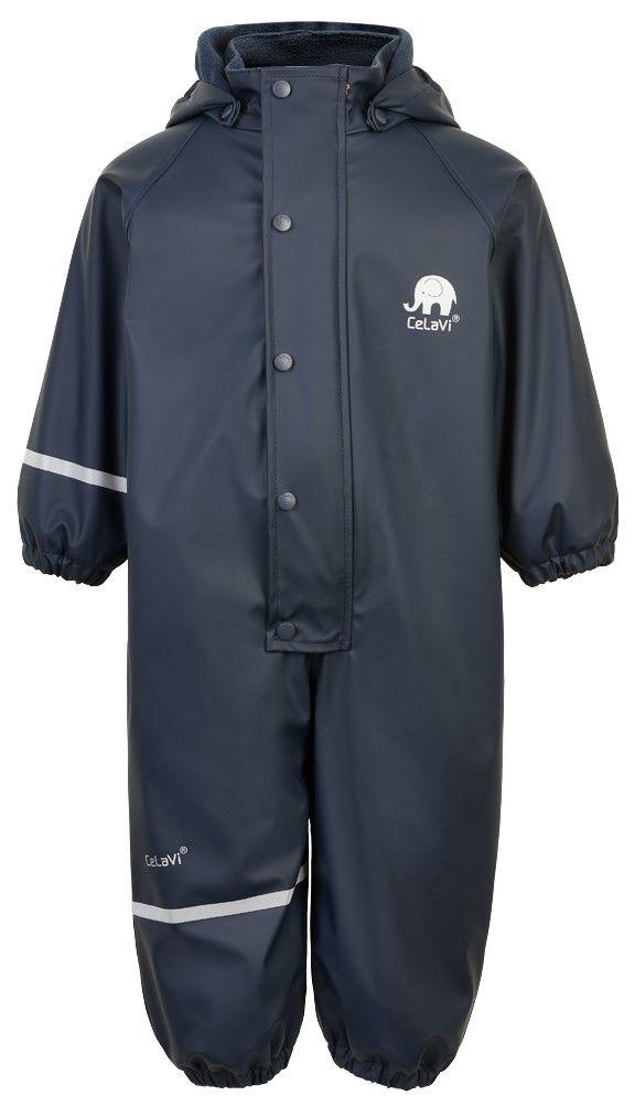 Salopetă de ploaie și vânt (impermeabilă) căptușită integral cu fleece navy CeLaVi