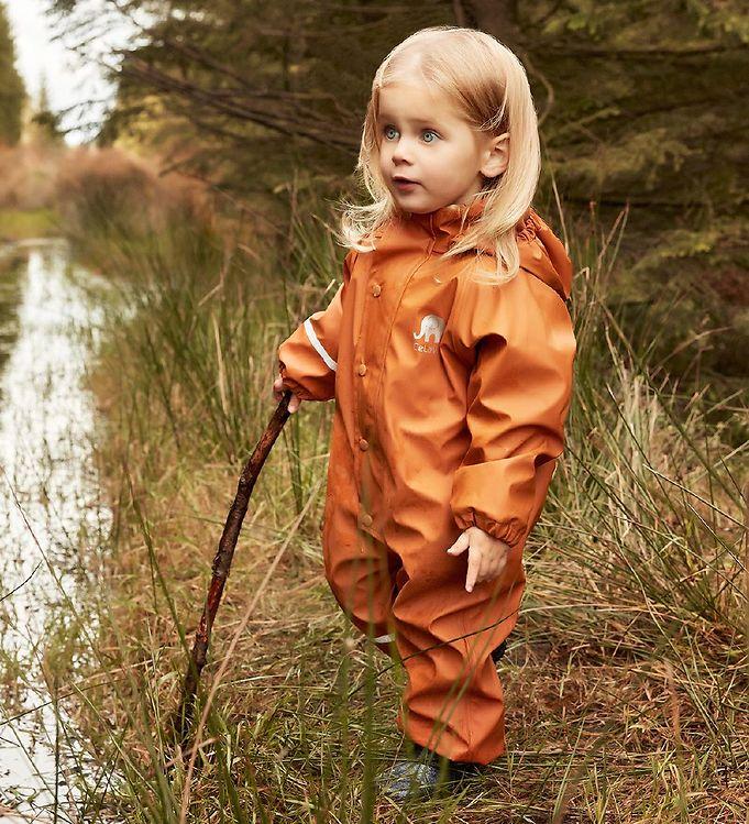 Salopetă de ploaie și vânt (impermeabilă) căptușită integral cu fleece pumpkin spice CeLaVi 3