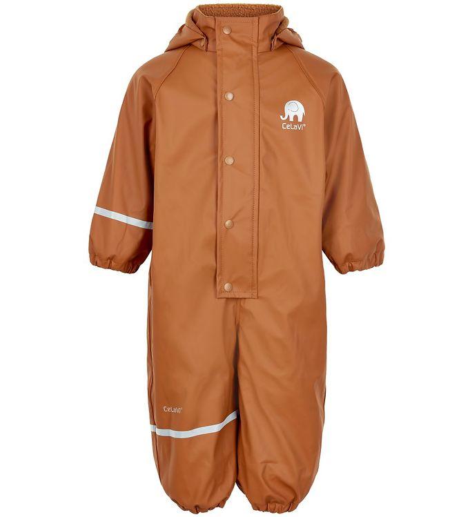 Salopetă de ploaie și vânt (impermeabilă) căptușită integral cu fleece pumpkin spice CeLaVi