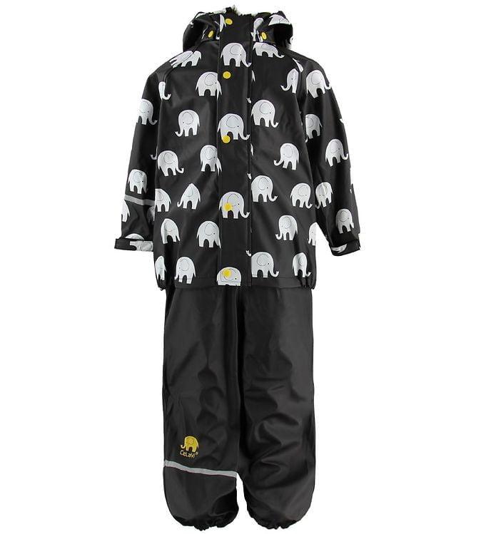 Set de ploaie și vânt (impermeabil) black-white elephants CeLavi