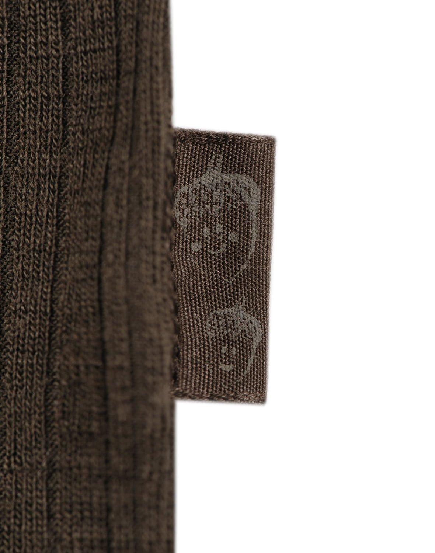 Bluză cu mânecă lungă chocolate brown din lână merinos organică rib pentru copii Dilling 3