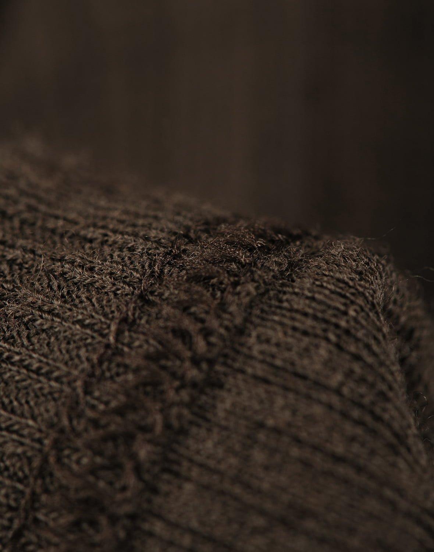 Bluză cu mânecă lungă chocolate brown din lână merinos organică rib pentru copii Dilling 4