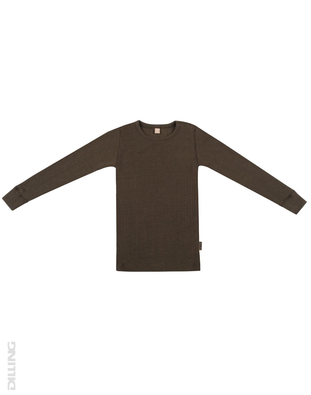 Bluză cu mânecă lungă chocolate brown din lână merinos organică rib pentru copii Dilling