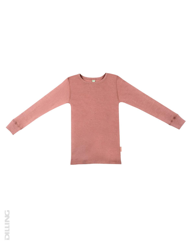 Bluză cu mânecă lungă dark pink din lână merinos organică pentru copii Dilling