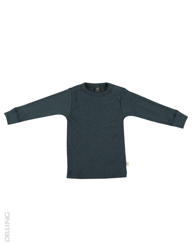 Bluză cu mânecă lungă petrol din lână merinos organică rib pentru bebeluşi Dilling