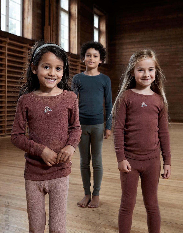 Bluză cu mânecă lungă rouge din lână merinos organică pentru copii Dilling 1