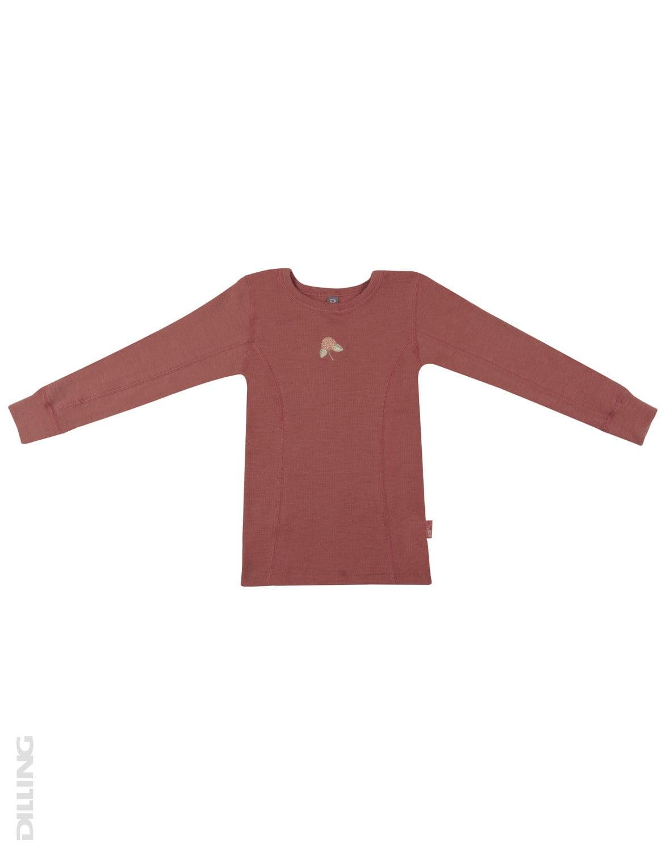 Bluză cu mânecă lungă rouge din lână merinos organică pentru copii Dilling