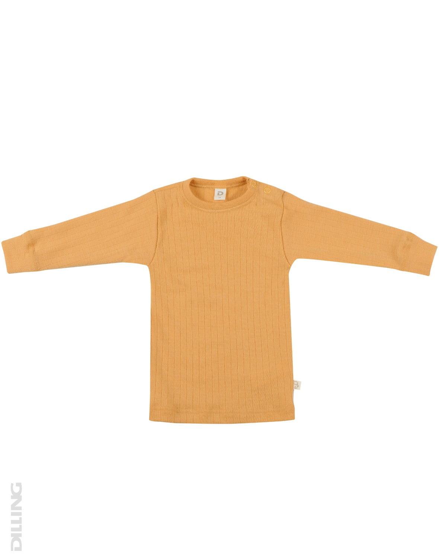 Bluză cu mânecă lungă yellow din lână merinos organică rib pentru bebeluşi Dilling
