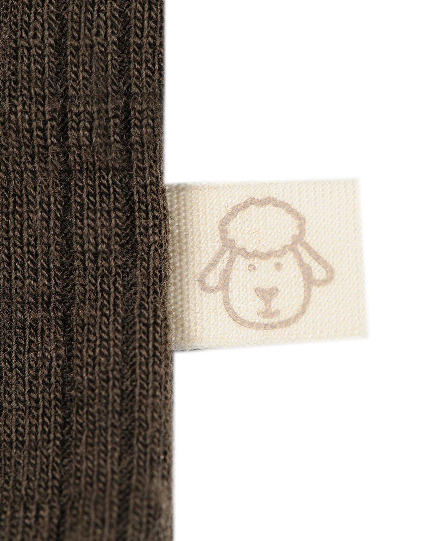 Body cu mânecă lungă chocolate brown din lână merinos organică rib pentru bebeluși Dilling 2