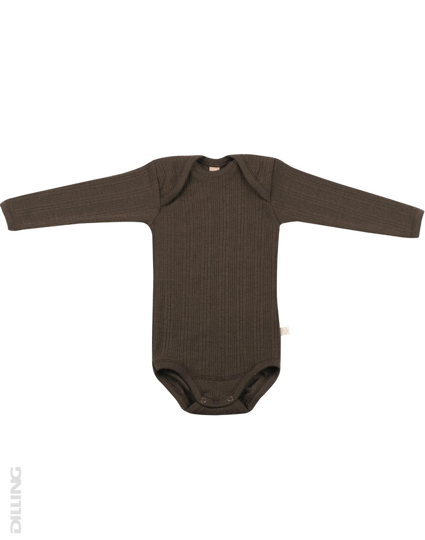 Body cu mânecă lungă chocolate brown din lână merinos organică rib pentru bebeluși Dilling