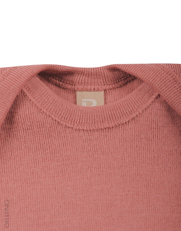 Body cu mânecă lungă dark pink din lână merinos organică pentru bebeluși Dilling 1