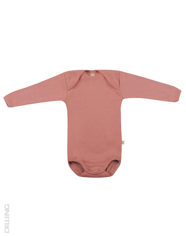 Body cu mânecă lungă dark pink din lână merinos organică pentru bebeluși Dilling