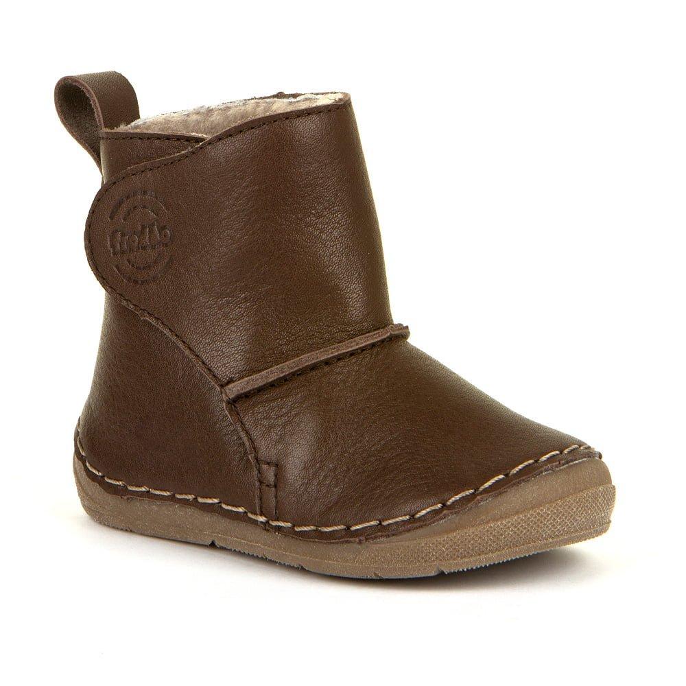Cizme din piele căptuşite cu blană de miel şi închidere laterală cu velcro şi talpă extra flexibilă dark brown Froddo