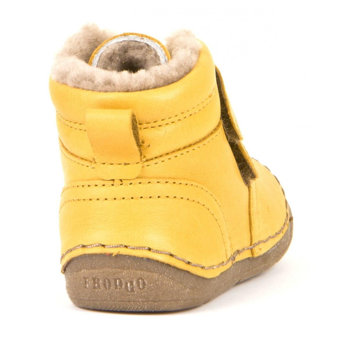 Ghete din piele cu velcro căptuşite cu blană de miel şi talpă flexibilă yellow Froddo 1