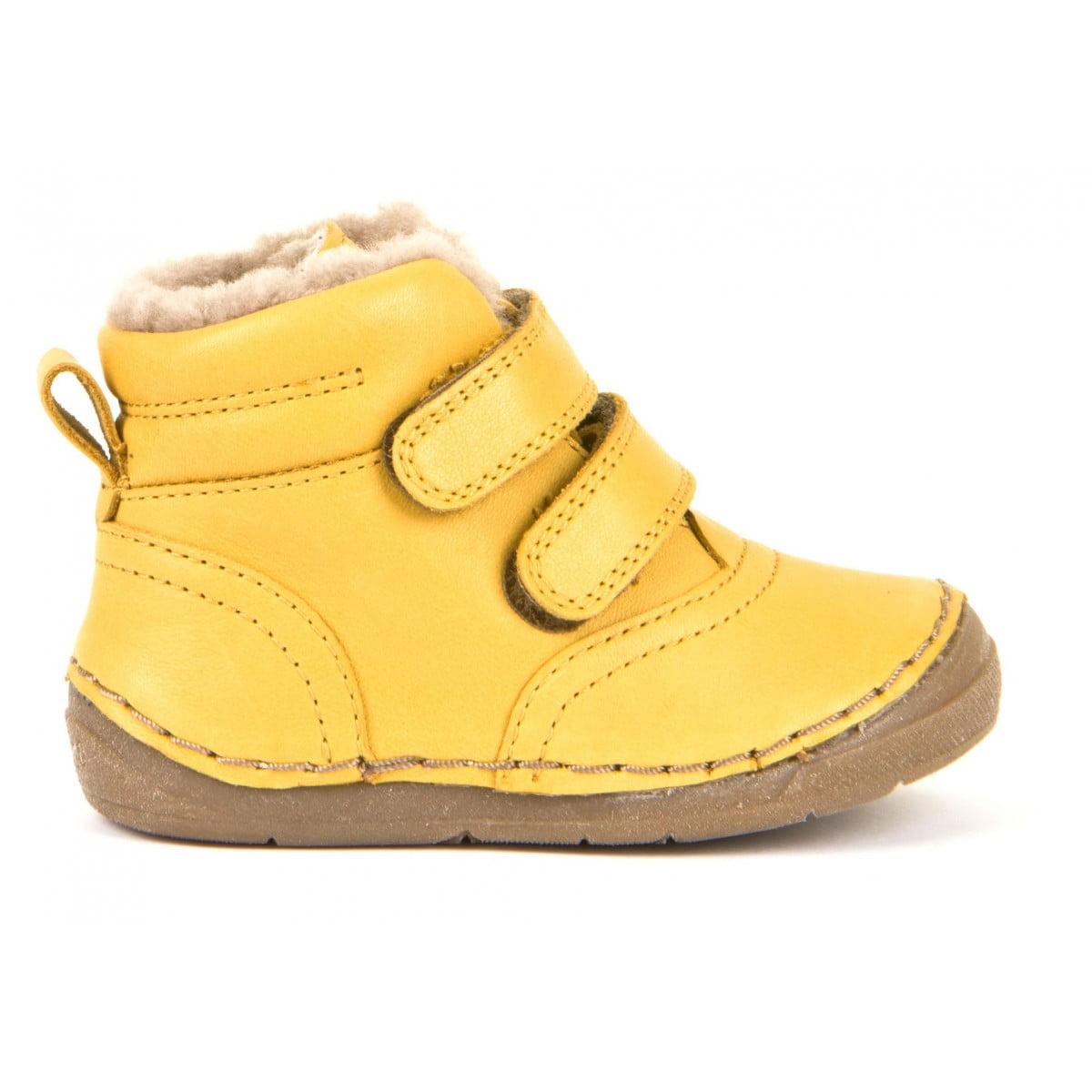 Ghete din piele cu velcro căptuşite cu blană de miel şi talpă flexibilă yellow Froddo 2