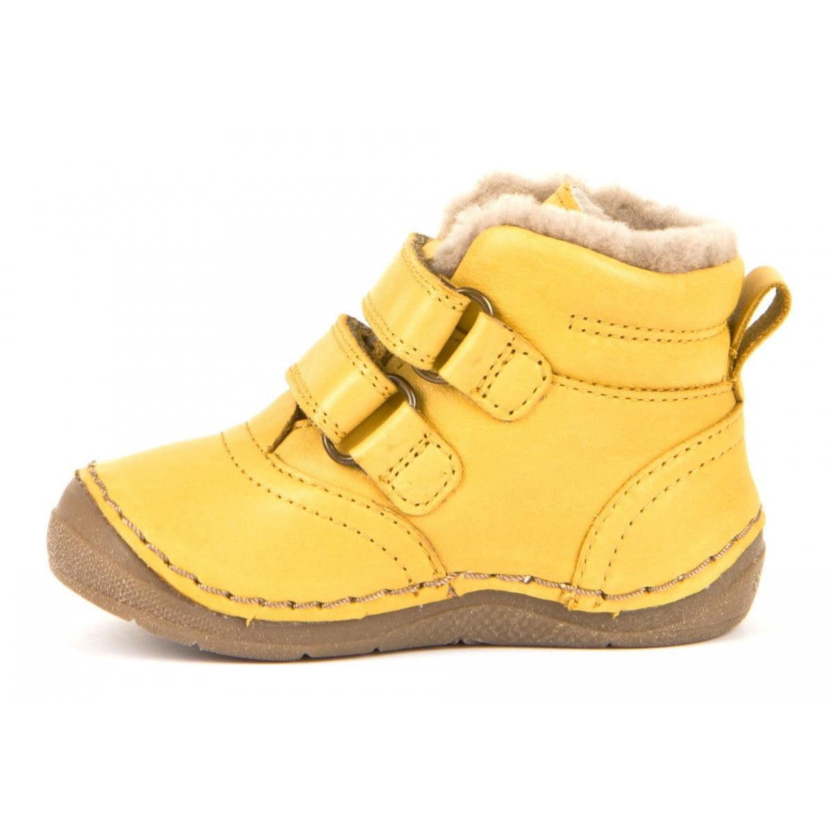Ghete din piele cu velcro căptuşite cu blană de miel şi talpă flexibilă yellow Froddo 3
