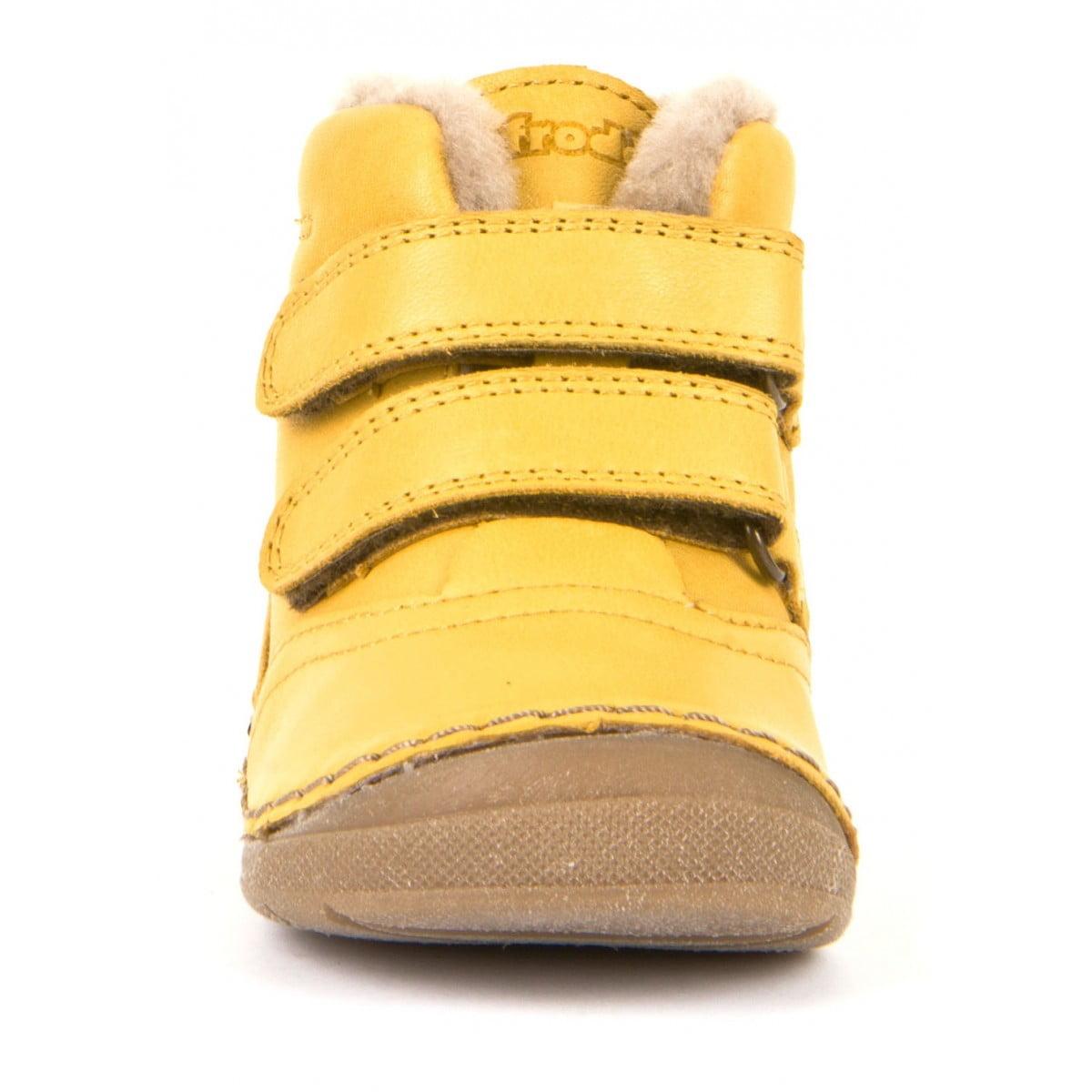 Ghete din piele cu velcro căptuşite cu blană de miel şi talpă flexibilă yellow Froddo 4