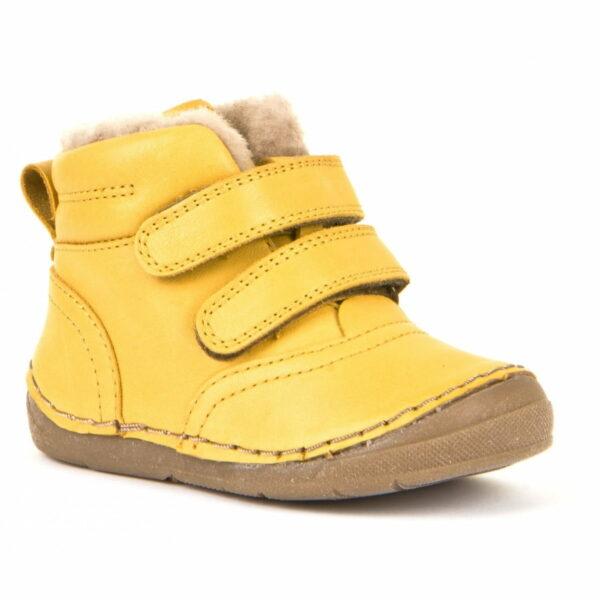 Ghete din piele cu velcro căptuşite cu blană de miel şi talpă flexibilă yellow Froddo