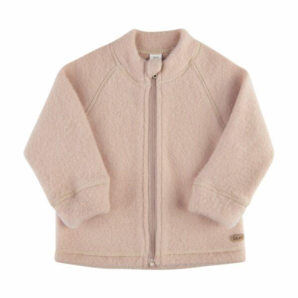Jachetă cu fermoar din lână merinos fleece Light Taupe Celavi