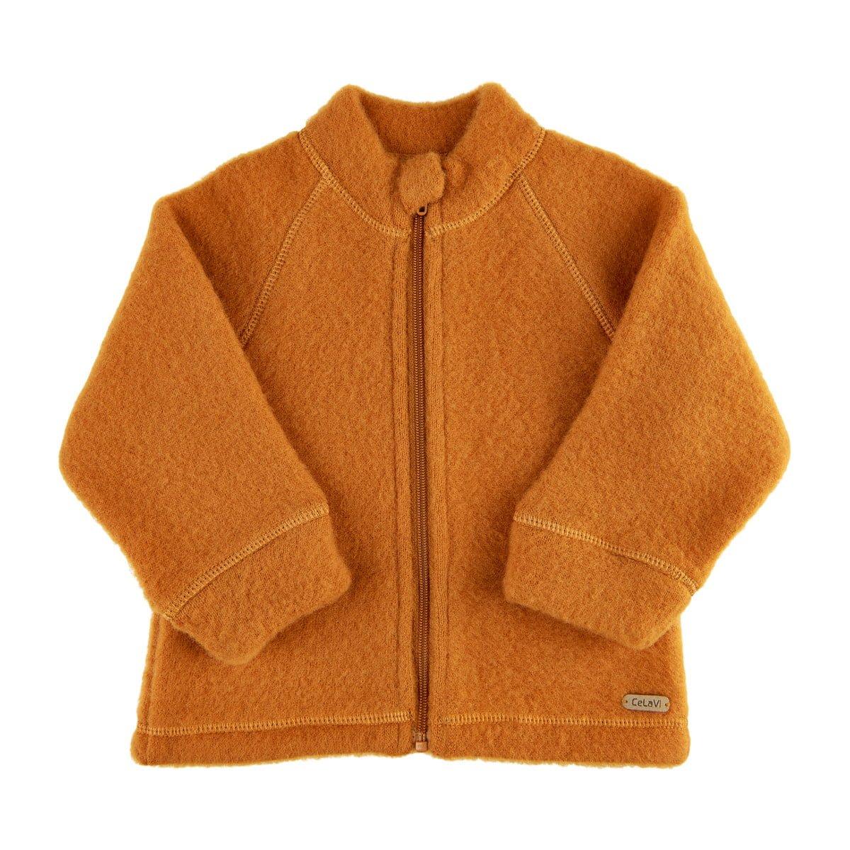 Jachetă cu fermoar din lână merinos fleece Pumpkin Spice Celavi