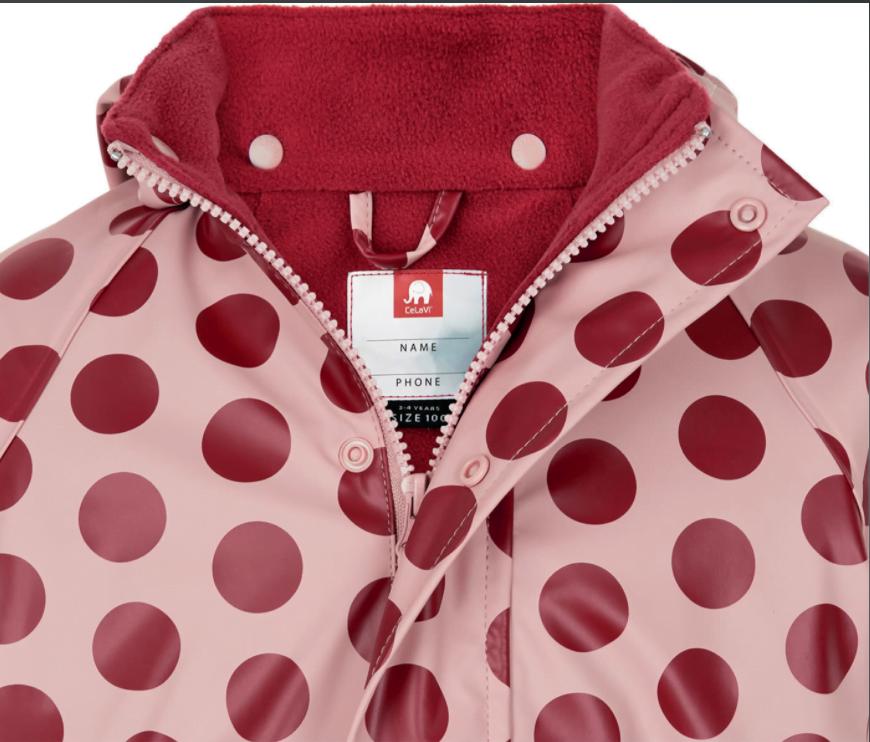 Jachetă de ploaie și vânt căptușită integral cu fleece dots misty rose CeLaVi 3