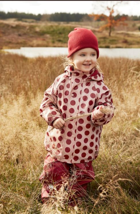 Jachetă de ploaie și vânt căptușită integral cu fleece dots misty rose CeLaVi 4
