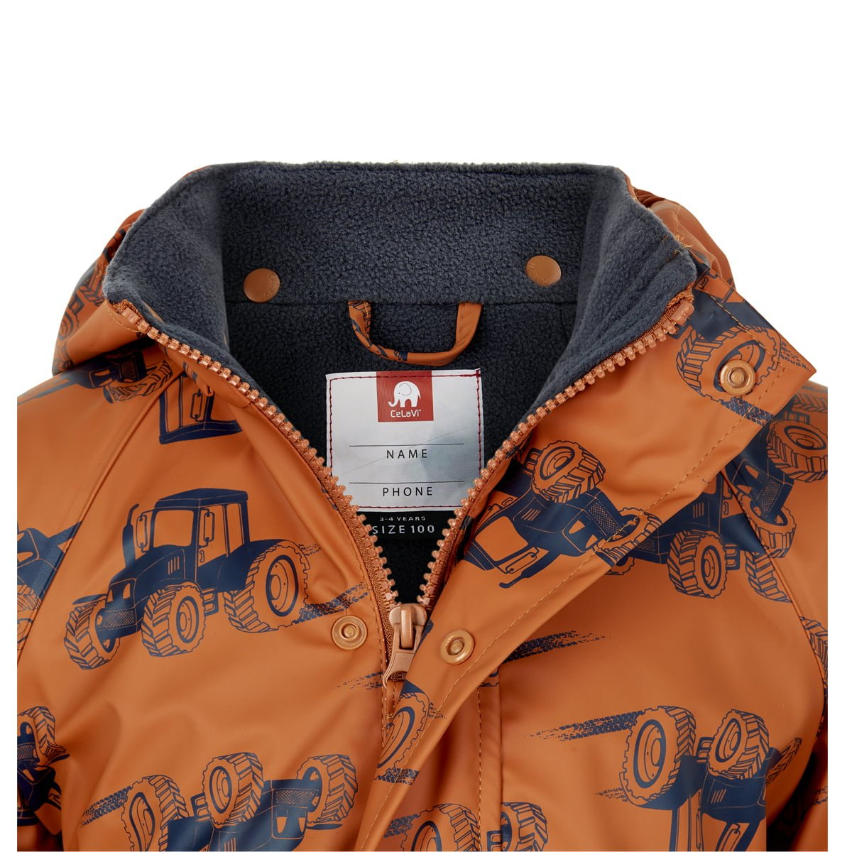 Jachetă de ploaie și vânt căptușită integral cu fleece pumpkin spice CeLaVi 3