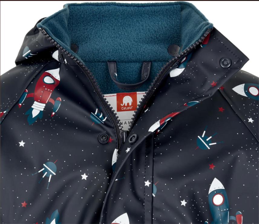 Jachetă de ploaie și vânt căptușită integral cu fleece space ice blue CeLaVi 3