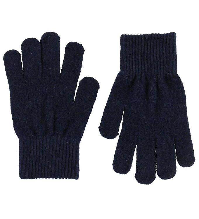 Mănuși cu degete din lână tricotată dark navy CeLaVi