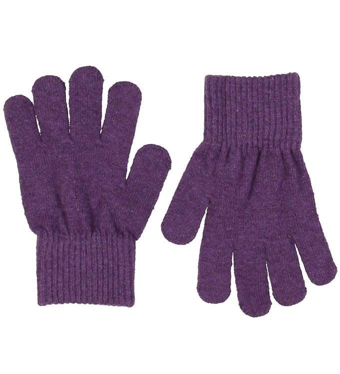 Mănuși cu degete din lână tricotată purple CeLaVi