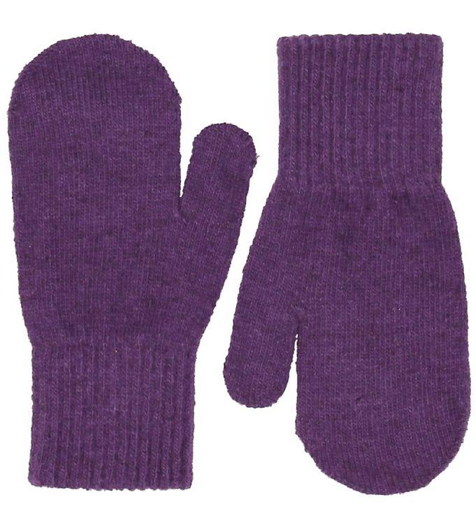 Mănuși pentru bebeluşi din lână tricotată purple CeLaVi