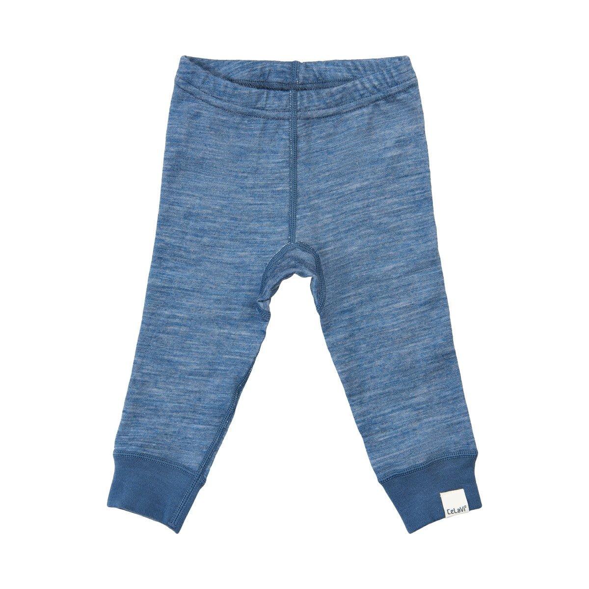Pantaloni colanţi din lână merinos şi bambus blue CeLaVi