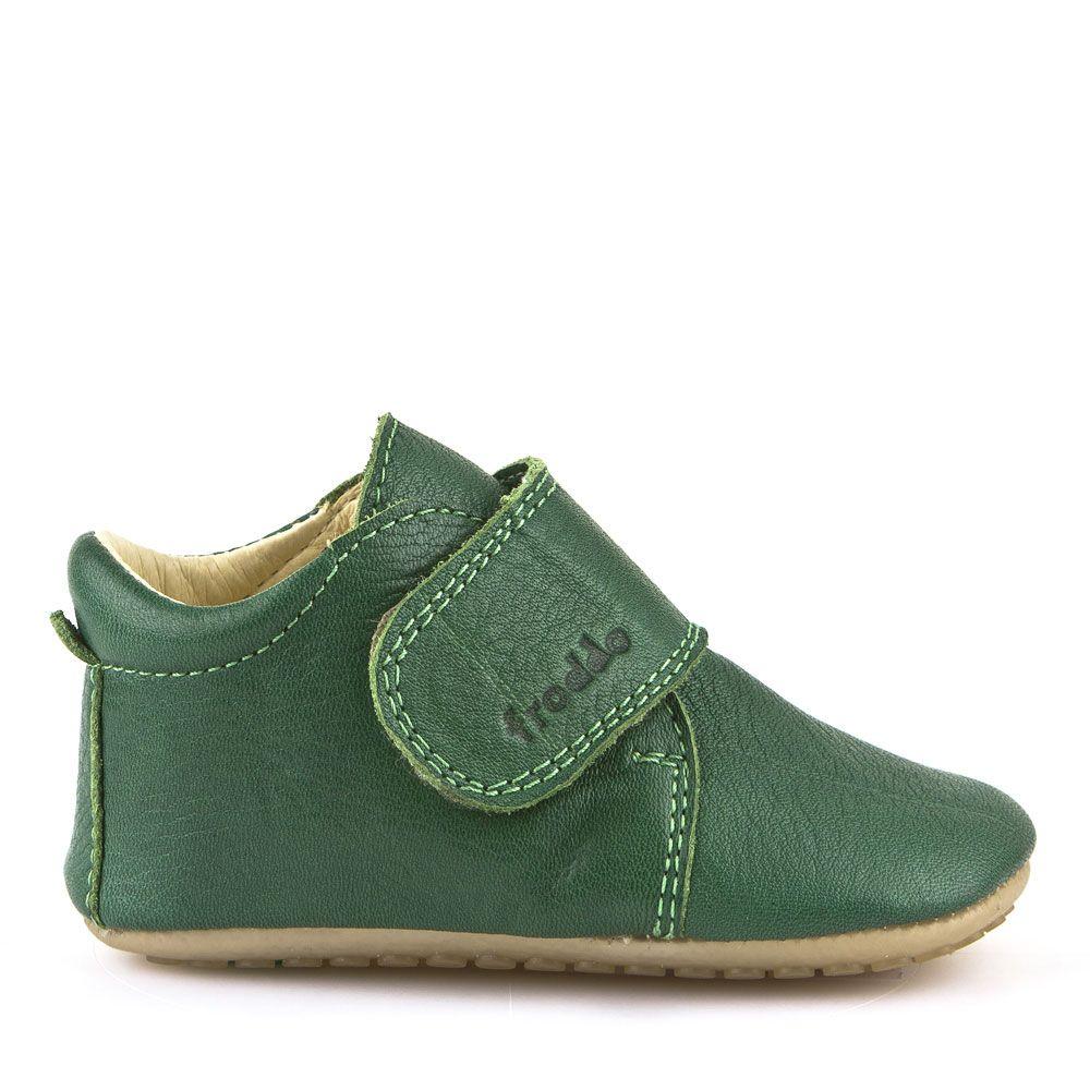 Pantofi barefoot din piele pentru primii pași green Froddo