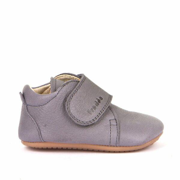 Pantofi barefoot din piele pentru primii pași light grey Froddo