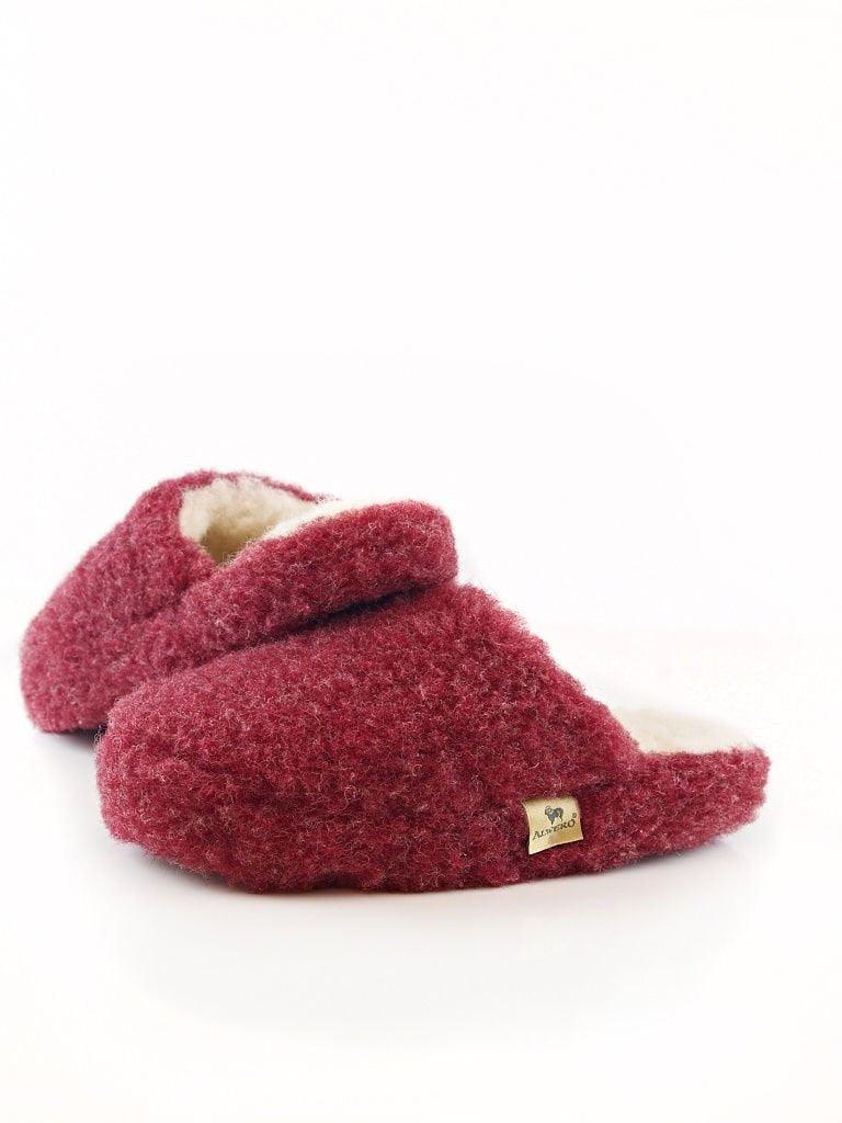 Papuci de casă lână cu talpă antiderapantă dark red Comfy Alwero