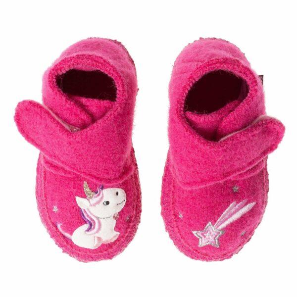 Papuci din lână organică cu talpă antiderapantă din cauciuc natural Little Unicorn Nanga