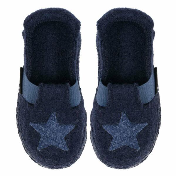 Papuci din lână organică cu talpă antiderapantă din cauciuc natural Shining Star Nanga