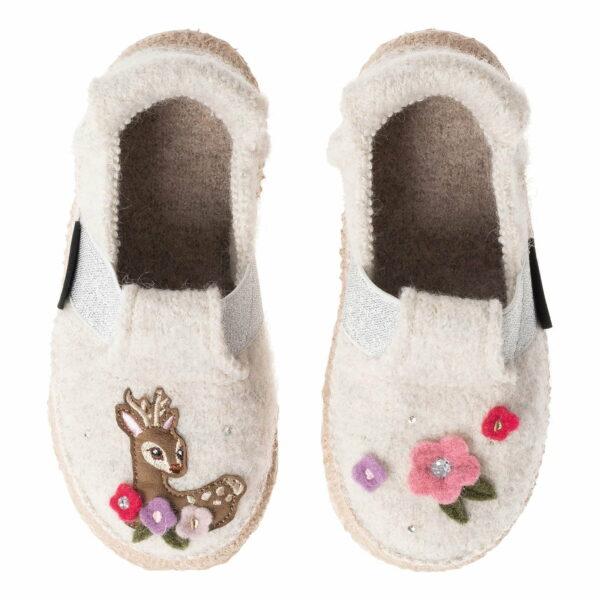 Papuci din lână organică cu talpă antiderapantă din cauciuc natural Sweet Bambi Nanga
