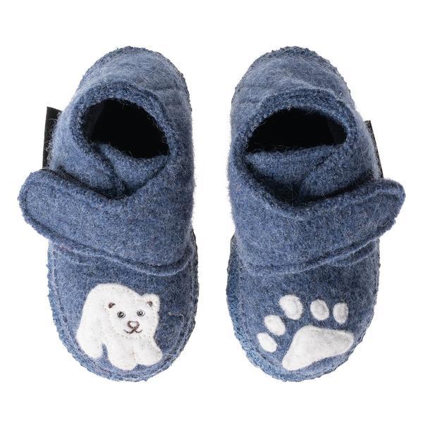 Papuci din lână organică cu talpă din cauciuc natural Little Polar Bear Nanga