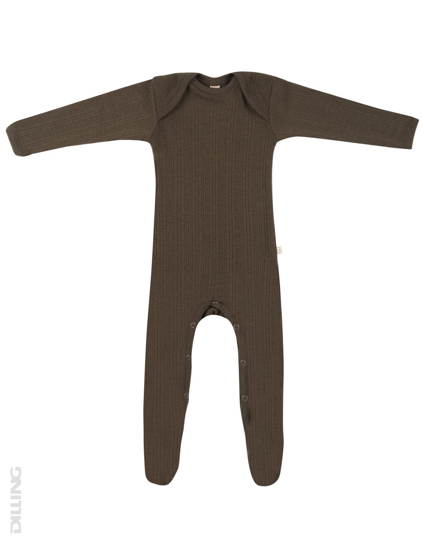 Salopetă – pijama overall chocolate brown din lână merinos organică rib pentru bebeluși Dilling