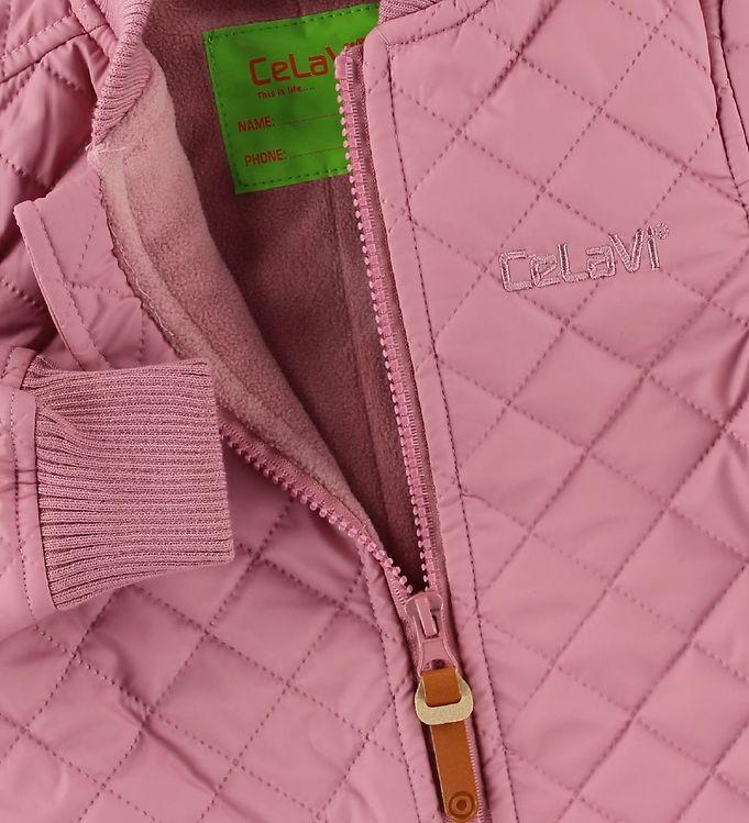 Salopetă overall termică matlasată şi căptuşită cu fleece rose CeLaVi 3