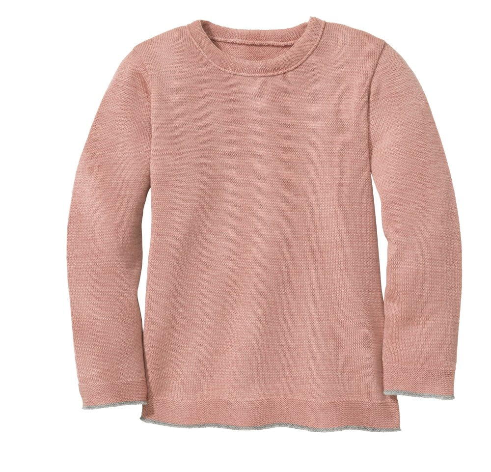 Pulover din lână merinos rose - gray Disana