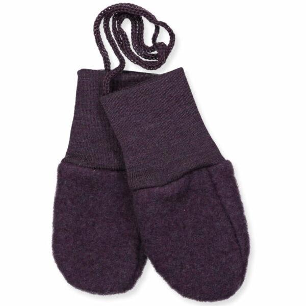 Mănuși pentru bebeluși din lână merinos fleece organică Lilac Melange Engel