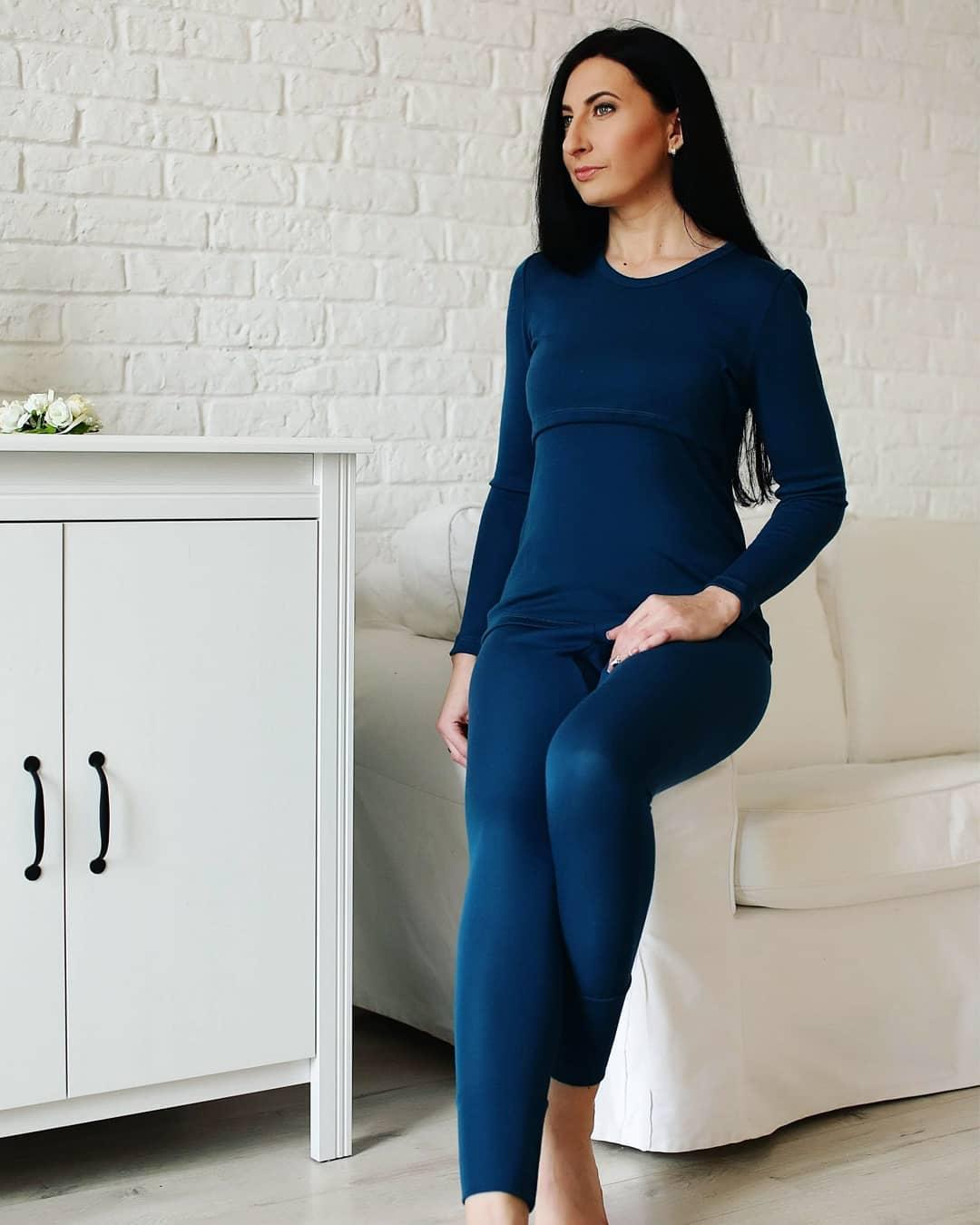 Bluză alăptare cu mânecă lungă petrol blue din lână merinos organică - Green Rose